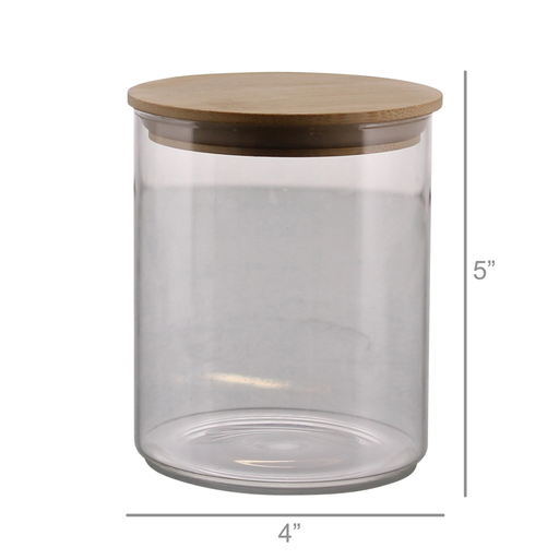 Finn Canister - Glass with Wood Lid - Med
