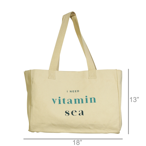 Beach Tote, Canvas - I Need Vitamin Sea