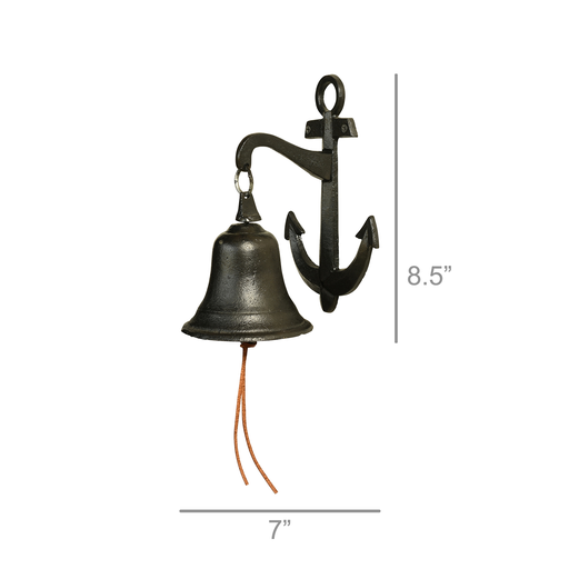 Anchor Wall Bell, Cast Iron - Black