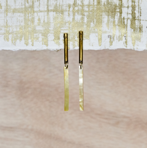 Vail Earring, Brass, Mother of Pearl - Light