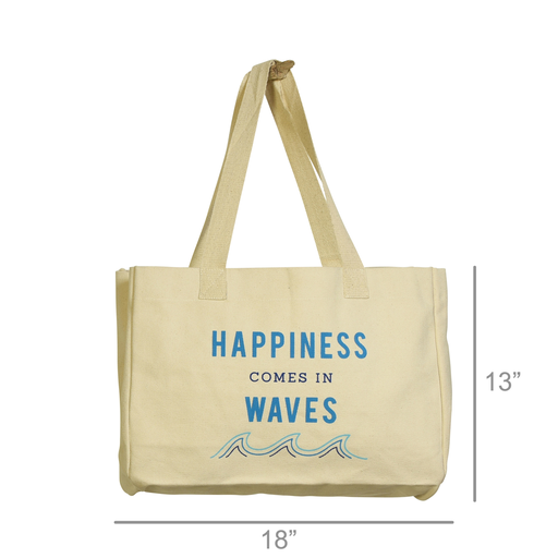 Beach Tote, Canvas - Happiness Comes In Waves