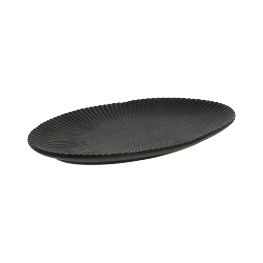Dominic Ribbed Oval Plate, Ceramic - Sm - Black