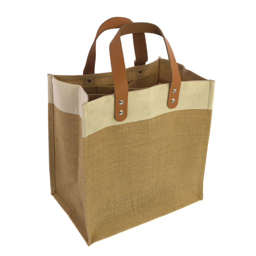 Uptown Wine Tote with Leather Handles - Jute and Canvas