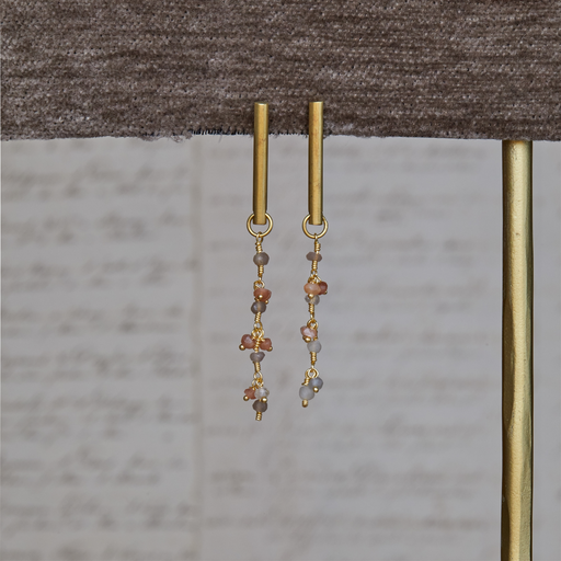 Vail Earring w/ Dangling Chain, Moonstone