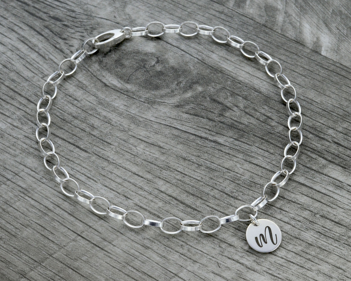 Personalized initial ankle bracelet in sterling silver