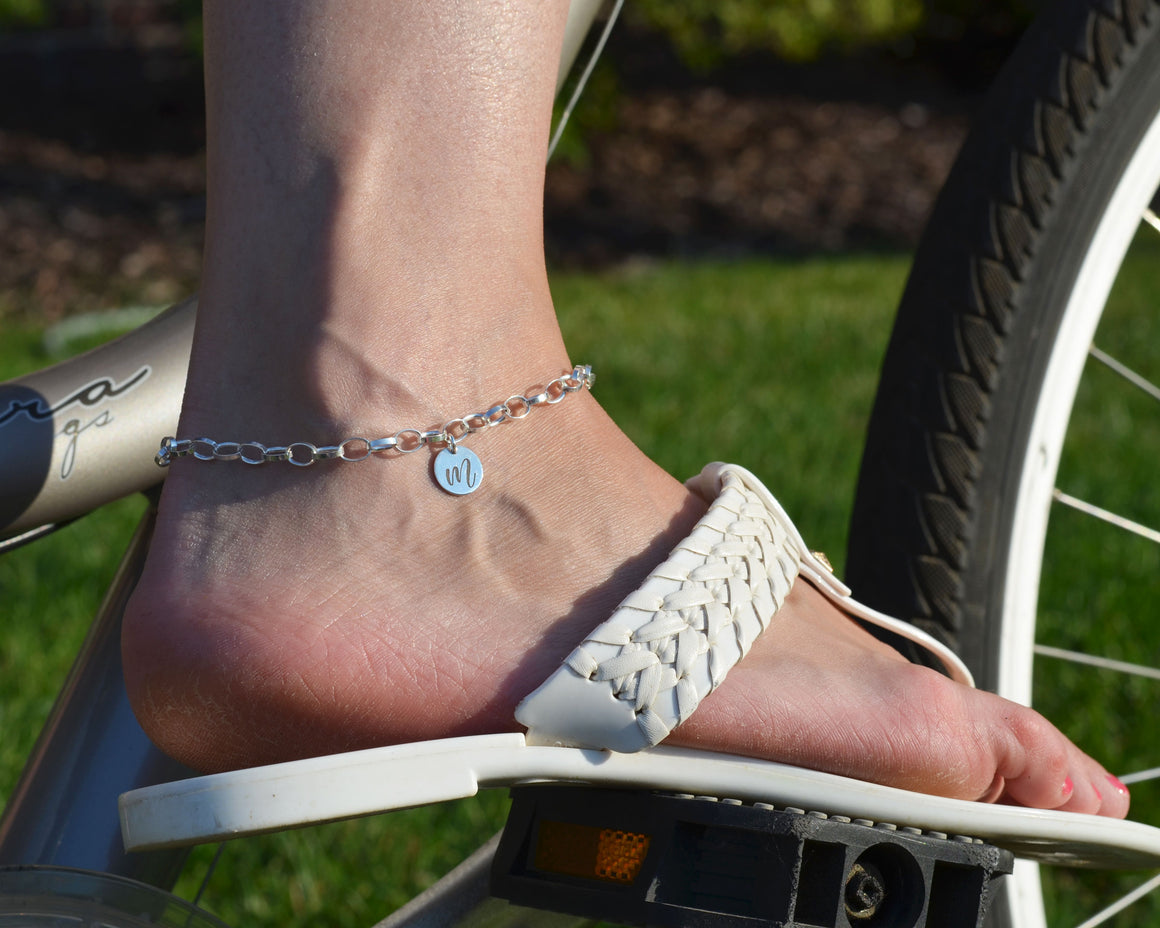 Personalized sterling silver ankle bracelet