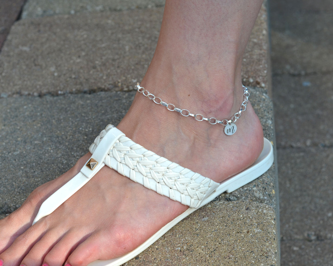 Personalized initial anklet in sterling silver