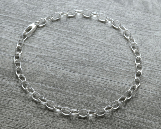 Ankle bracelet in sterling silver rolo chain