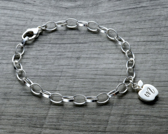 Personalized apple charm bracelet in sterling silver with lobster clasp