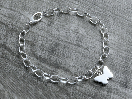 Personalized butterfly charm bracelet in sterling silver with clasp