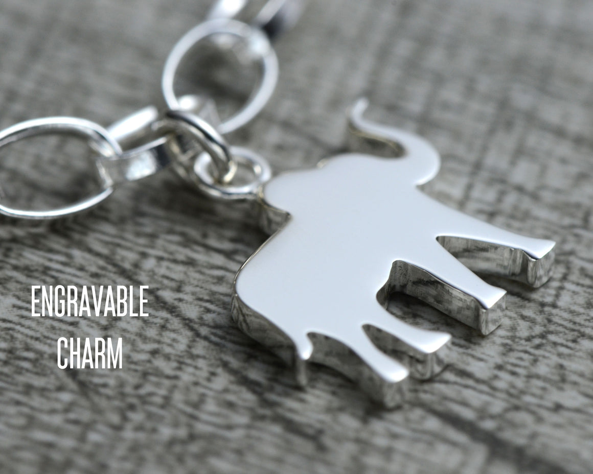 Elephant pendant for sterling silver charm bracelet