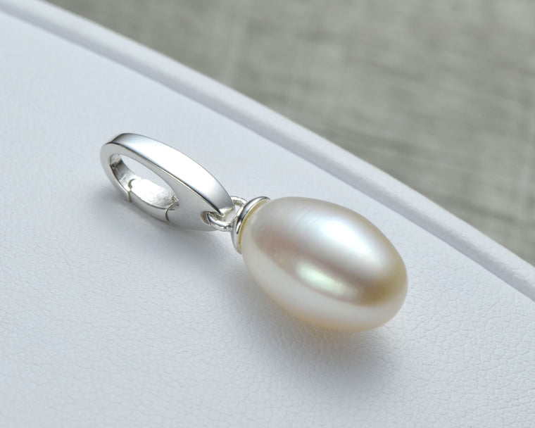 Silver pearl charm pendant