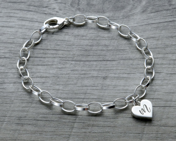 personalized heart charm bracelet in sterling silver with lobster clasp