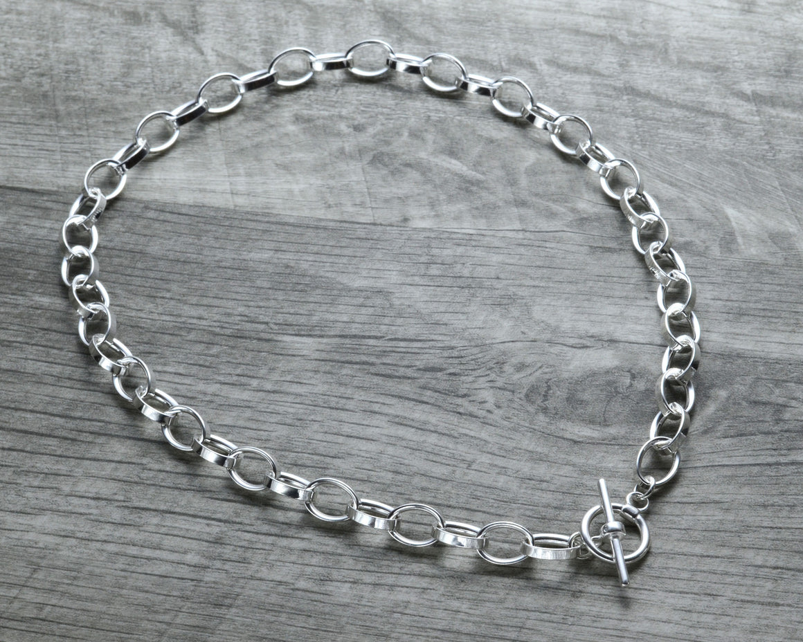 Chunky choker necklace in sterling silver