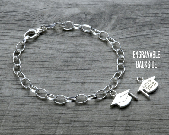 personalized graduation charm bracelet in sterling silver with lobster clasp