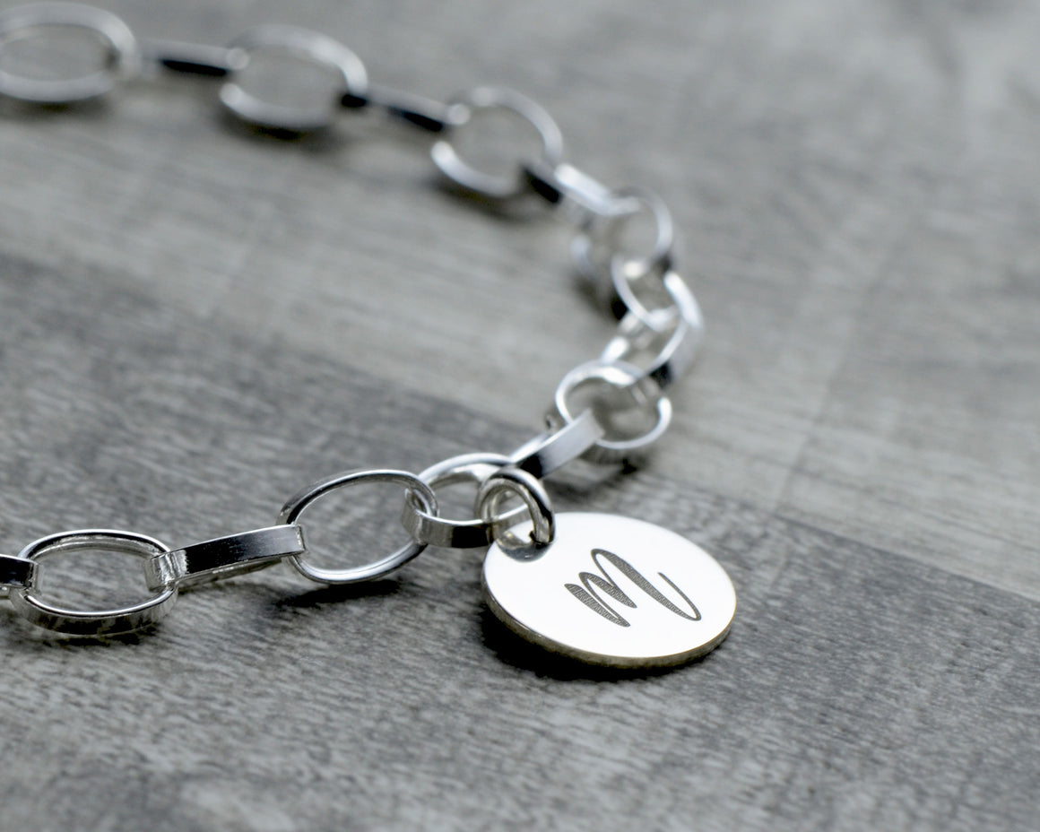 Engraved initial tag for sterling silver charm bracelet