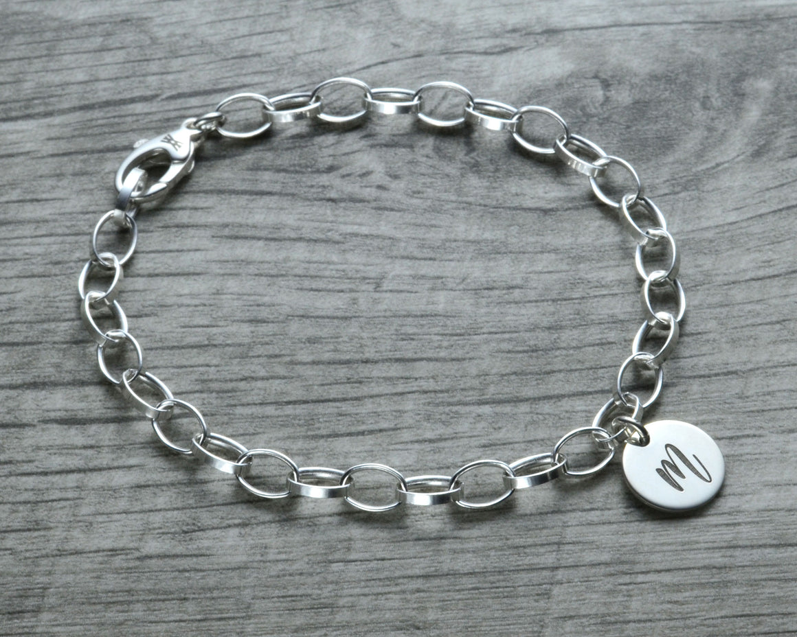 personalized initial charm bracelet in sterling silver with lobster clasp