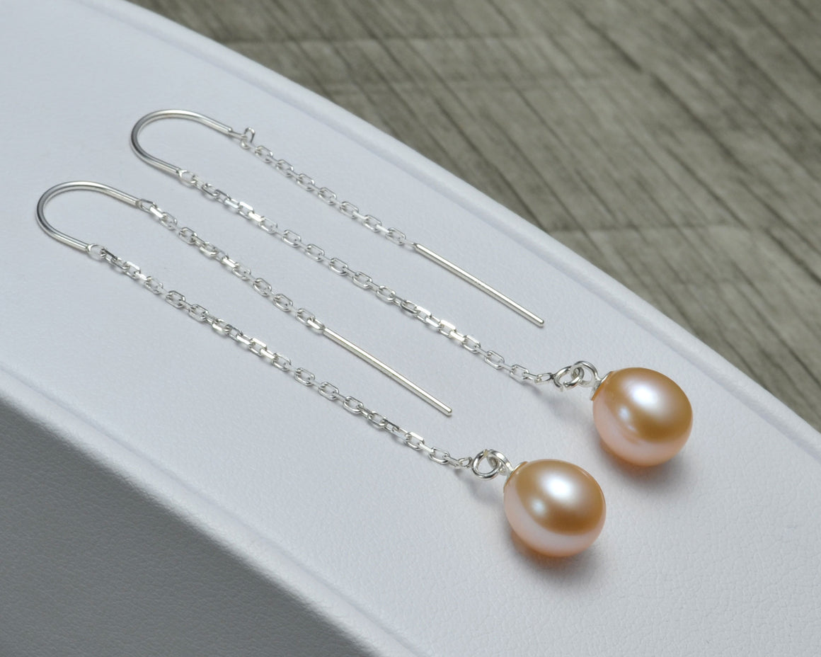 PINK PEARL THREADER EARRINGS