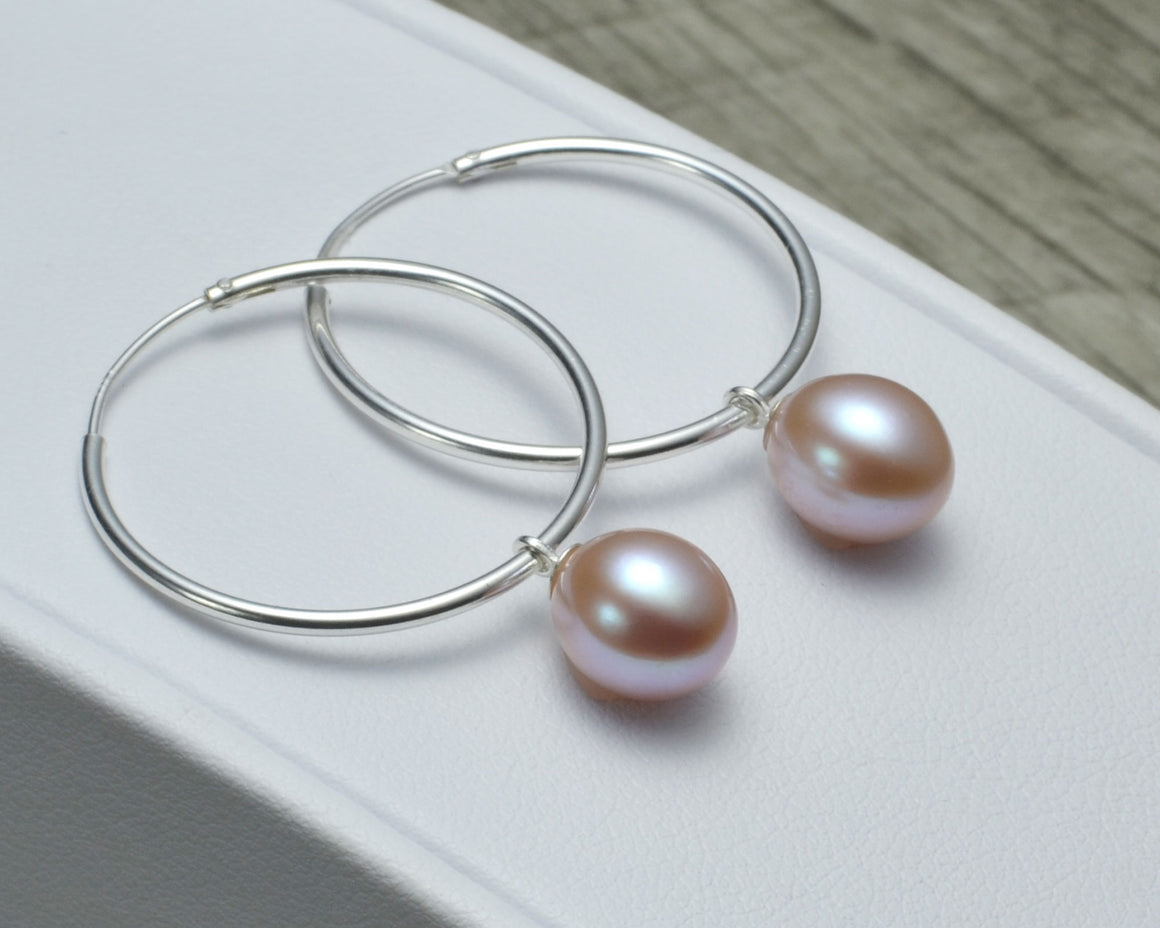 PURPLE PEARL HOOP EARRINGS