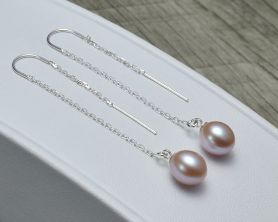 PURPLE PEARL THREADER EARRINGS