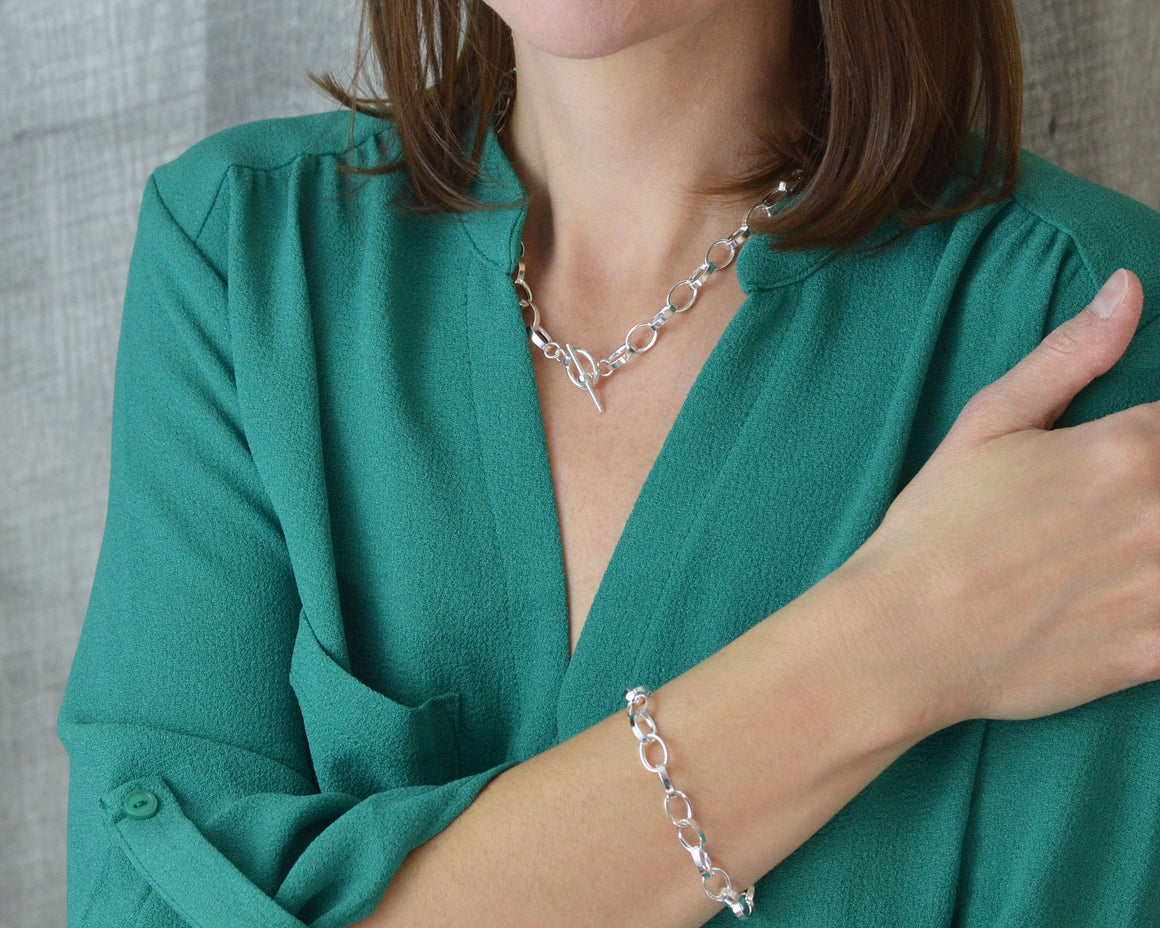 Chunky choker necklace and charm bracelet gift set in sterling silver