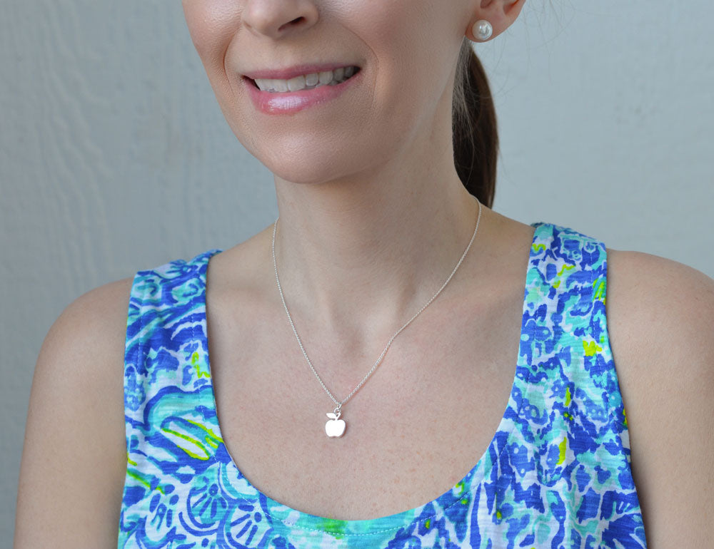 Sterling Silver Apple Pendant Necklace