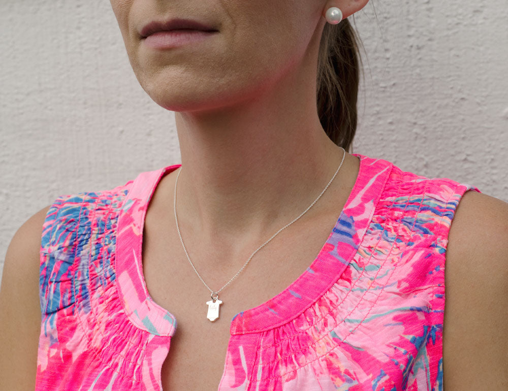 Sterling Silver Baby Tee Pendant Necklace