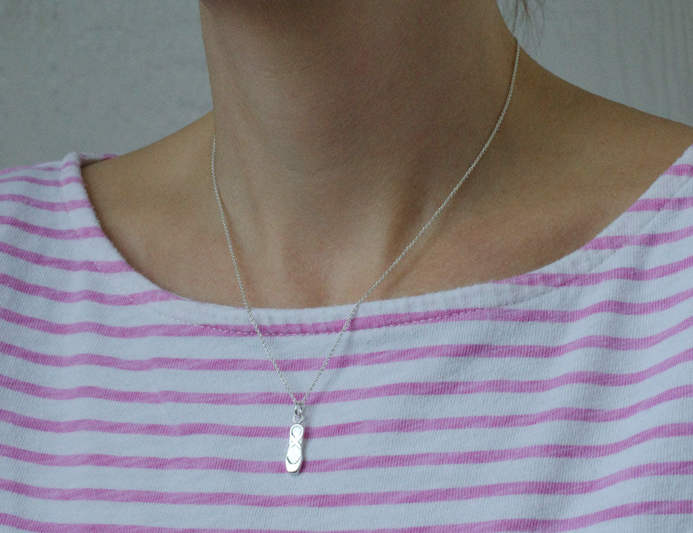 Sterling Silver Ballet Slipper Pendant Necklace