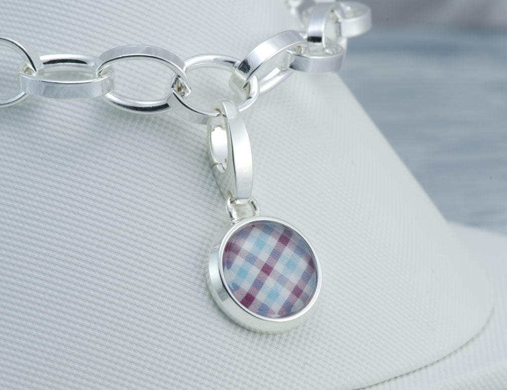 Blue Brown Check Charm