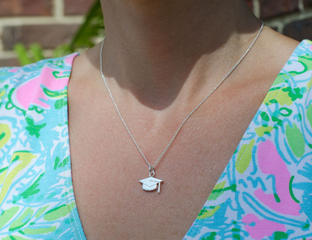 Sterling Silver Graduation Cap Necklace