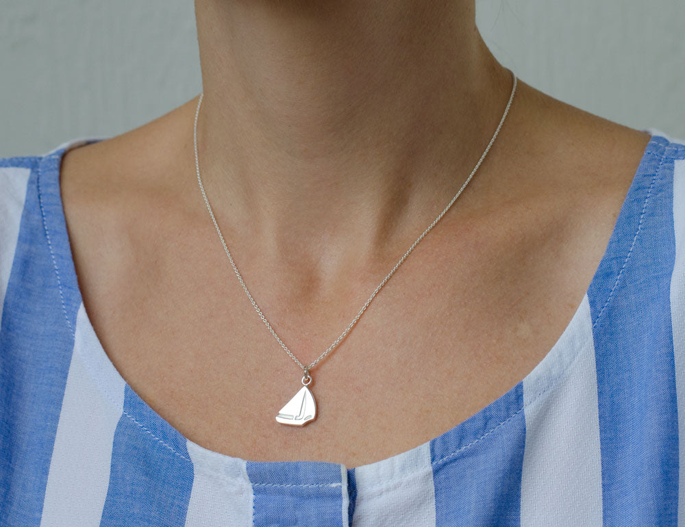 Sterling Silver Sailboat Pendant Necklace