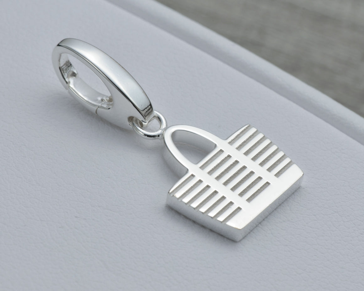 TOTE BAG CHARM IN STERLING SILVER