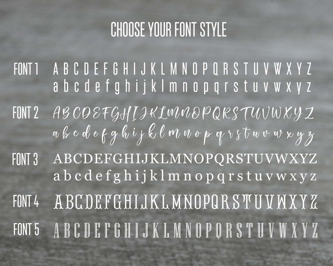 Font options for personalized charm bracelet