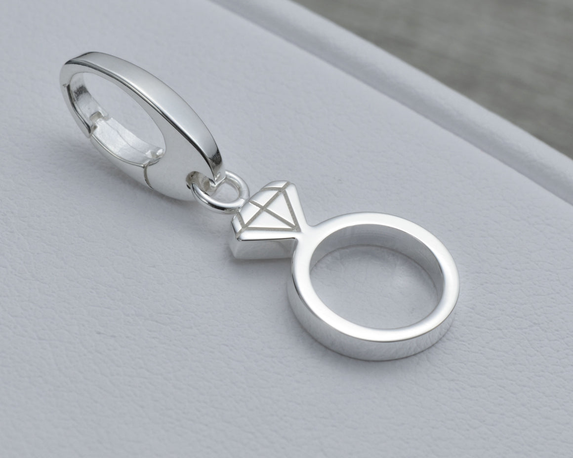 WEDDING RING CHARM IN STERLING SILVER