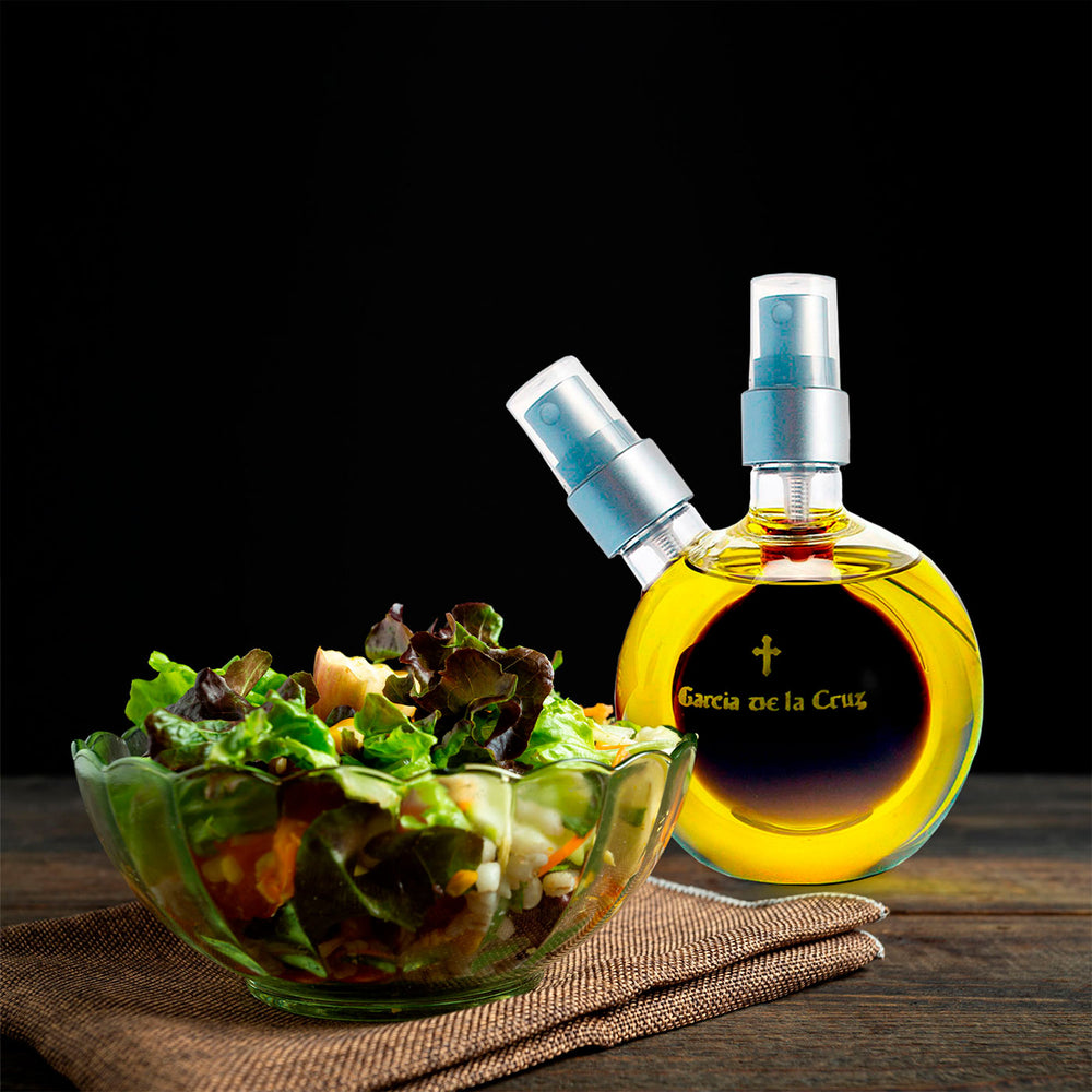 Load image into Gallery viewer, Hand Blown Glass Double Ball Cruet of Organic Extra Virgin Olive Oil (7.8 fl oz) and Balsamic Vinegar (1.5 fl oz)