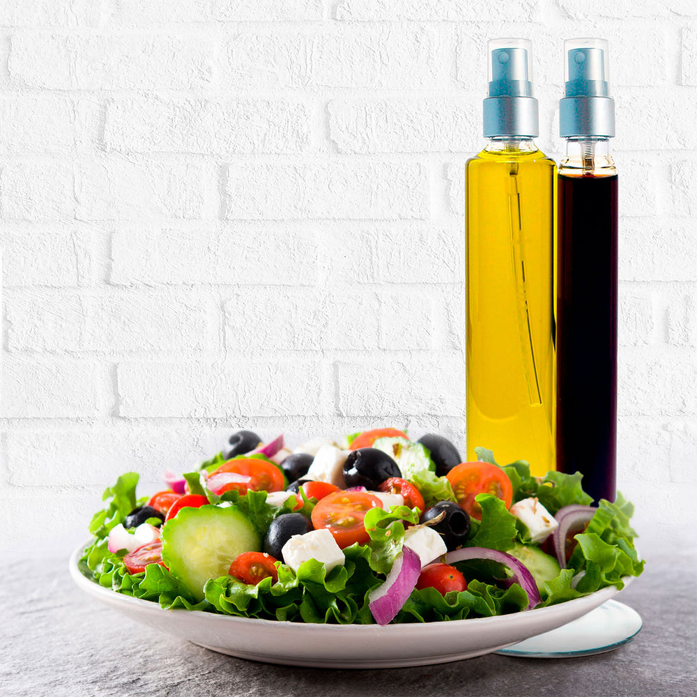 Load image into Gallery viewer, Hand Blown Glass Bi -Cylindrical Cruet of Organic Extra Virgin Olive Oil (4.7 fl oz) and Balsamic Vinegar (2 fl oz)