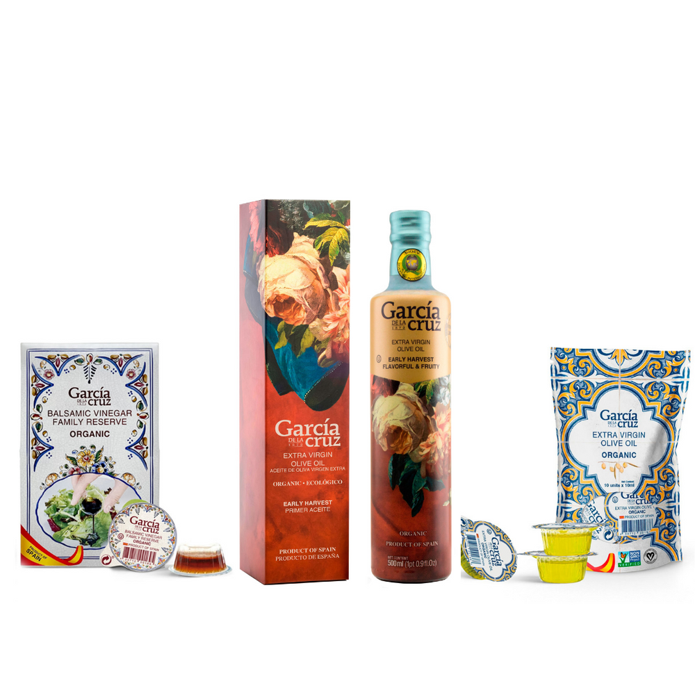 Gift Set- Early Harvest Organic Extra Virgin Olive Oil 16 Fl Oz and bag of Individual Servings 0.34 Fl Oz x 10 units of Master Miller Coupage EVOO and Balsamic Vinegar