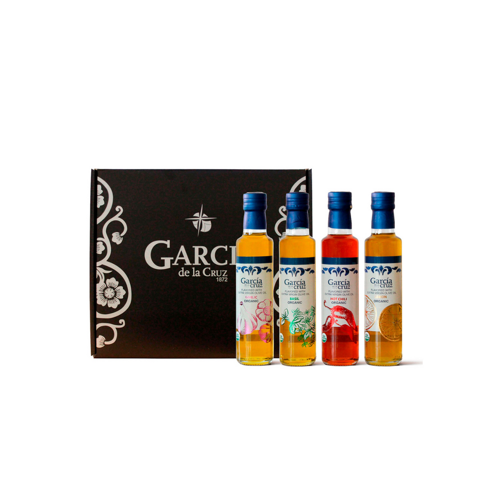 Load image into Gallery viewer, GIFT SET Organic Spanish Aromatic Extra Virgin Olive Oil - Garlic, Basil, Hot Chili, Lemon Infused - Pack of 4 x 8.5 Fl Oz