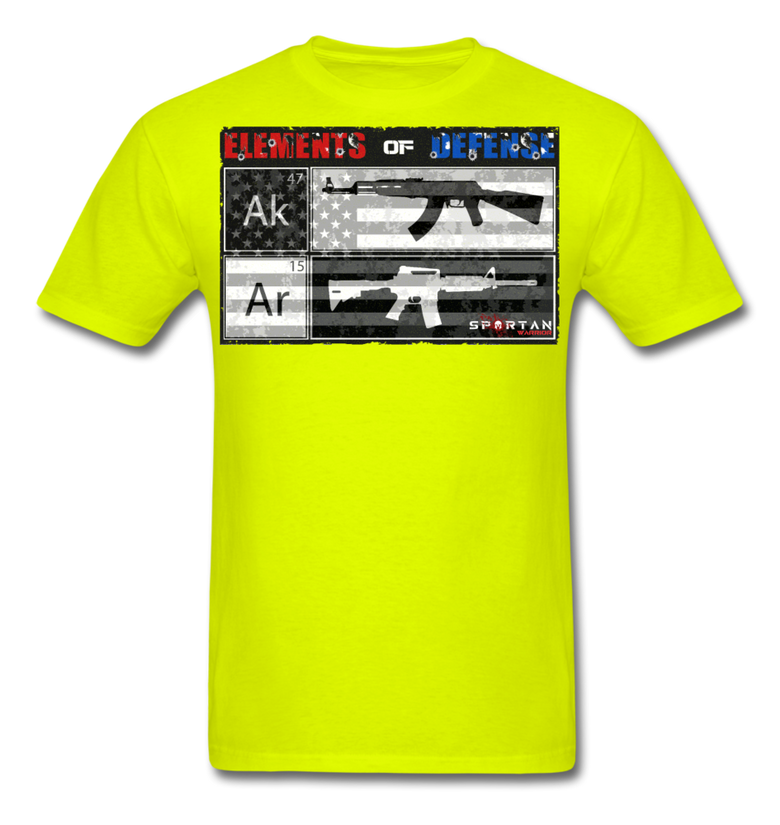 Elements of Defense, SPARTAN WARRIOR, AR15, AK47, Patriotic, 2nd Amendment, AMERICAN FLAG, tshirt - safety green