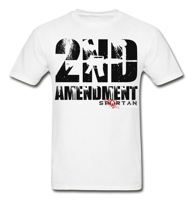 2ND AMENDMENT, ARK15, PATRIOTIC, SPARTAN WARRIOR T-SHIRT - white
