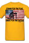 STAND FOR THE FLAG KNEEL FOR THE FALLEN T-SHIRT - gold