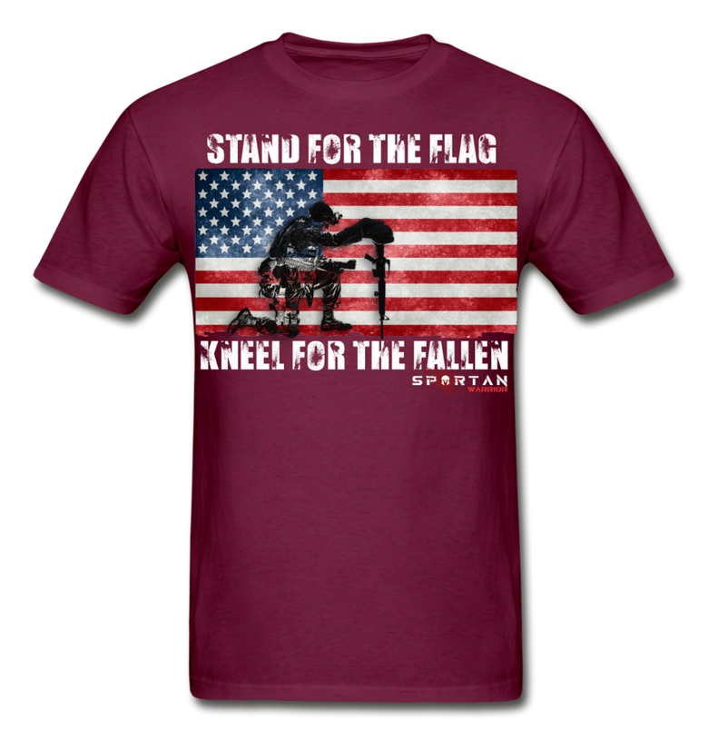 STAND FOR THE FLAG KNEEL FOR THE FALLEN T-SHIRT - burgundy