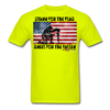 STAND FOR THE FLAG KNEEL FOR THE FALLEN T-SHIRT - safety green