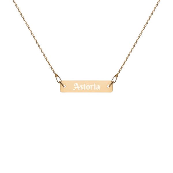Astoria Engraved Silver Bar Chain Necklace