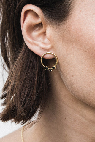 Lucy Earrings Onyx - gold
