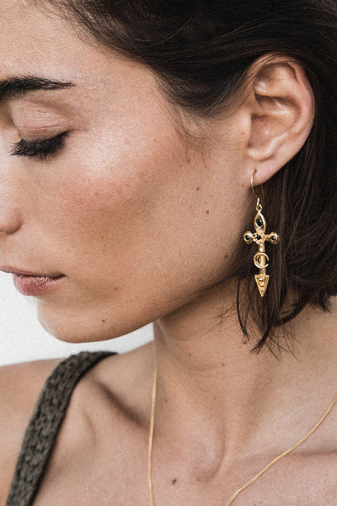 Moon Cross Earrings - gold