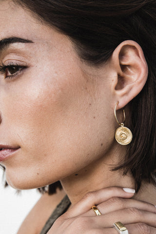 Sun Hoop Earrings - gold