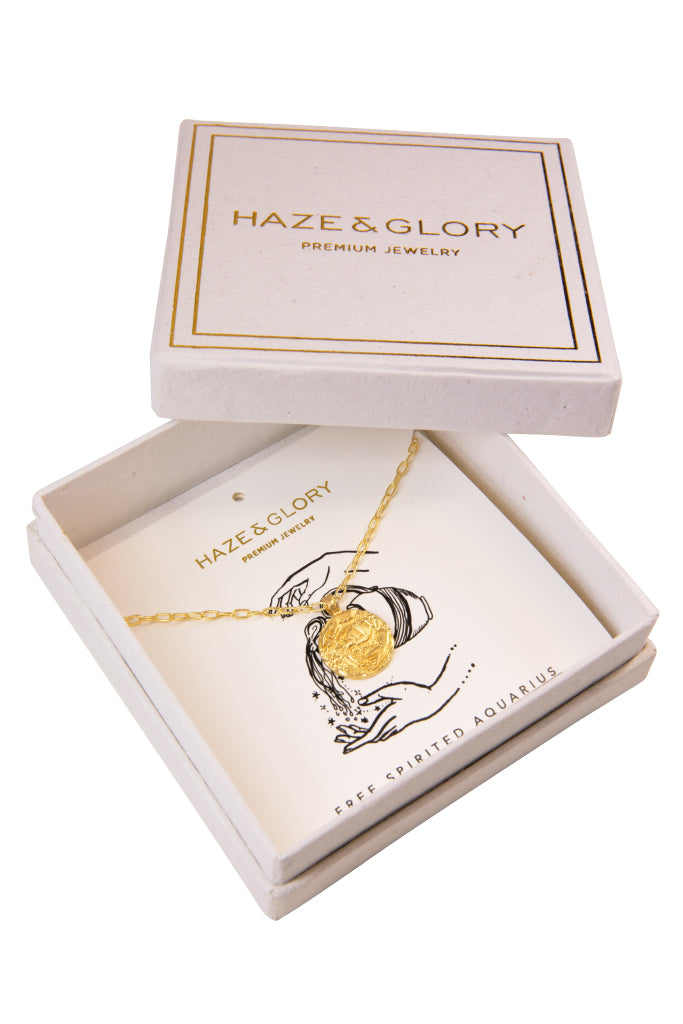 The golden Zodiac Necklace - Free-Spirited Aquarius|Gold Sternzeichen Halskette - Wassermann