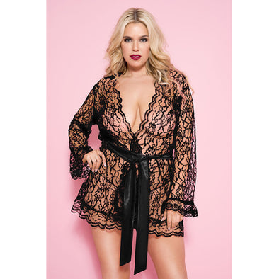 Plus Size Floral Lace Short Robe