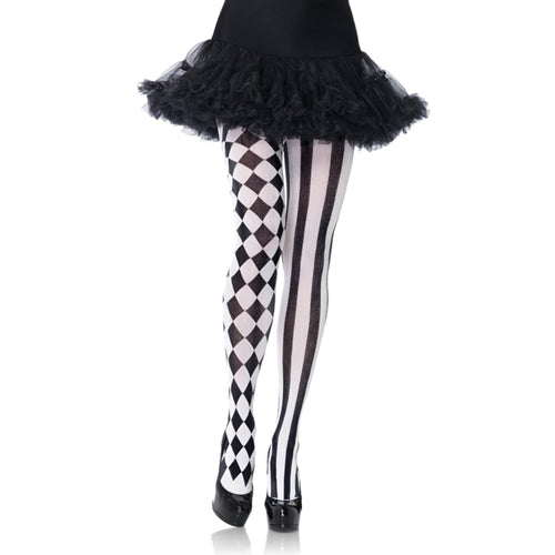Pantyhose With Harlequin Print - Black/White